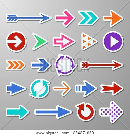 Website Right Arrow Stickers. Directional Arrows Signs. Progress Arrow Vector Symbols. Sticker Right