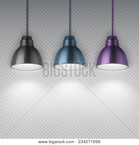 Vintage Hang Chrome Electric Ceiling Lamps. Office Retro Chandeliers Isolated Vector Illustration. E