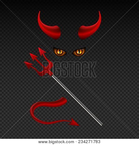 Devil Horns, Harpoon, Satanic Yellow Eyes And Tail Isolated Vector Photobooth Props For Hell Party.
