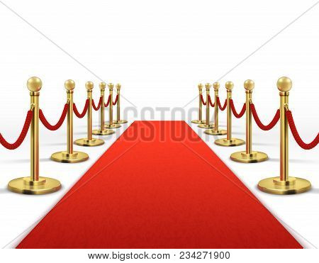 Red Carpet For Celebrity With Gold Rope Barrier. Success, Prestige And Hollywood Event Vector Concep