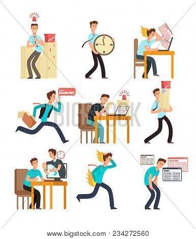 Stressed office people for deadline and time management concept. Businessman under deadline workload. Vector characters set isolated. Illustration of business office stress, deadline work poster