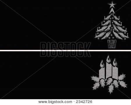 Weihnachten-Tags In Silber - Baum und Kerzen