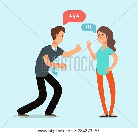 Young Angry Man And Woman Couple Have Quarrel. Unhappy Family Conflict, Disagreement In Relationship