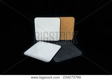 Set Of Drink Coasters Beer Drinks Mats Square Blank - Ready For Design And Sublimation Print