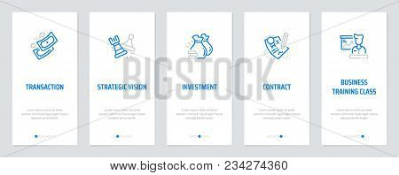 Transaction, Strategic Vision, Investment, Contract, Business Vertical Cards With Strong Metaphors.