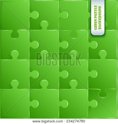 Green Plastic Pieces Puzzle Game Complete Background