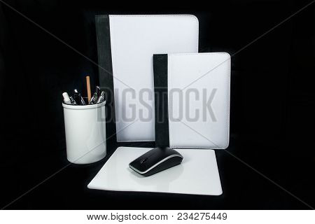 Pen Cup, Pencil Office Set Notebook Cover And Mouse Pad - Mousepad On Black Background For Sublimati