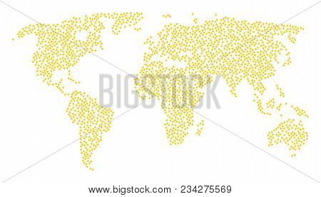 Worldwide Composition Map Combined Of Sparcle Star Items. Vector Sparcle Star Scatter Flat Design El