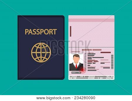 Id Card Icon. Identity Card, National Id Card, Passport Card With Electronic Chip And Man Photo. Vec