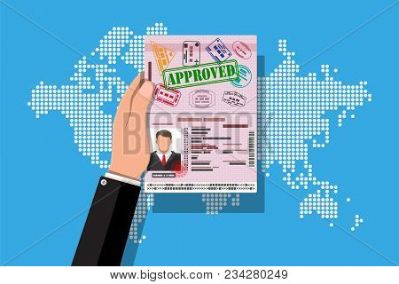 Id Card Icon. Identity Card, National Id Card, Passport Card With Visas Stamps In Hand. Electronic C