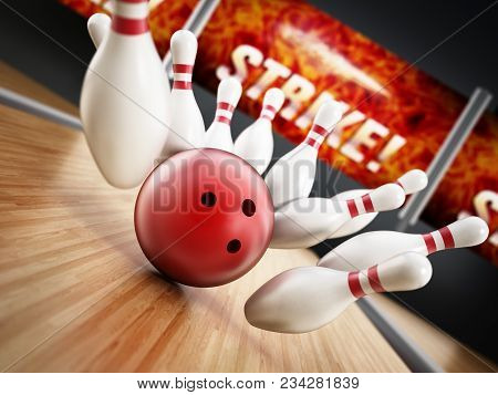 Bowling Strike Concept With Rolling Ball And Pins. 3d Illustration.