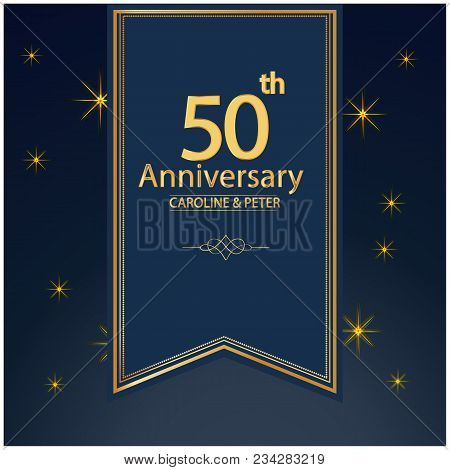 50th Anniversary Ribbon Star Blue Background Vector Image