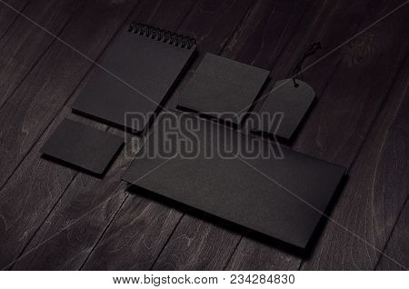 Corporate Identity Set Of Blank Black Stationery On Luxury Dark Wood Board, Inclined. Template For B