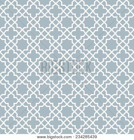 Abstract Geometry Pattern In Arabian Style. Seamless Vector Background. White And Blue Graphic Ornam