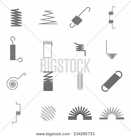 Silhouettes Black Metal Springs Icon Set Concept Decorative Element Design Style Different Types. Ve