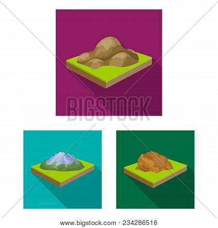 Mountains, Massive Flat Icons In Set Collection For Design. The Surface Of The Earth Vector Isometri