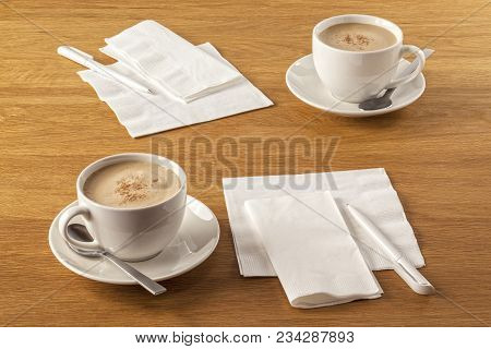 Serviette And Pen - Napkins Or Serviettes And Pens On Table, Ready To Make A Note Of Your Latest Gre