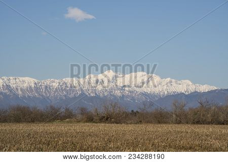 View Of The Snow-capped Mount Canin In Winter