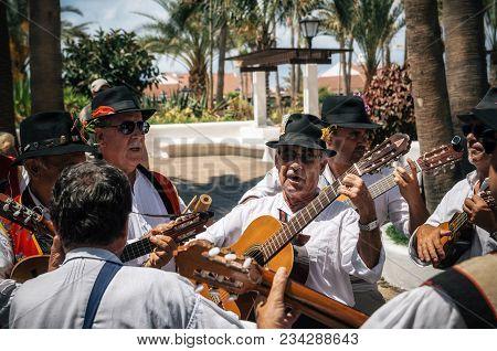 Puerto De La Cruz, Tenerife, Canary Islands - May 30, 2017: Canaries People Dressed In Traditional C