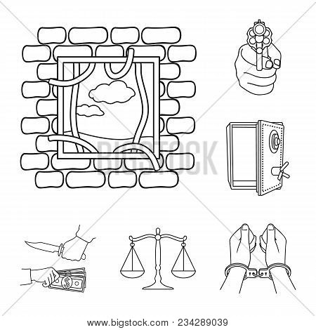 Crime And Punishment Outline Icons In Set Collection For Design.criminal Vector Symbol Stock  Illust