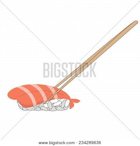 Sushi Shrimp For Lunch Icon. Cartoon Illustration Of Sushi Set And Chopsticks For Lunch Vector.