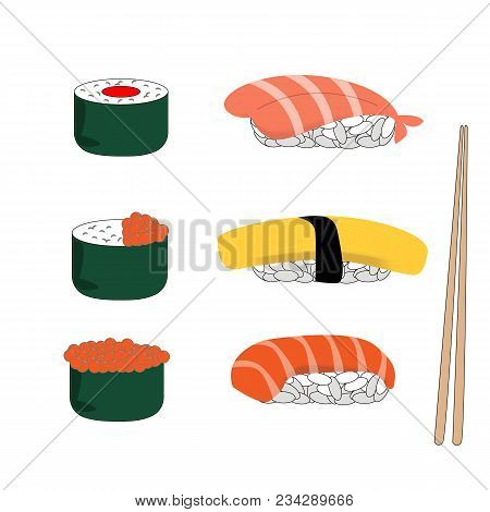 Sushi Salmon, Sweet Egg, Salmon Roe, Shrimp For Lunch Icon. Cartoon Illustration Of Sushi Set And Ch