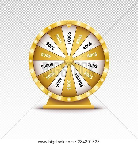 Realistic 3d Spin Golden Fortune Wheel, Lucky Roulette Vector Illustration On Transparent Background