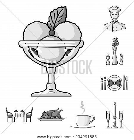 Restaurant And Bar Monochrome Icons In Set Collection For Design. Pleasure, Food And Alcohol Vector