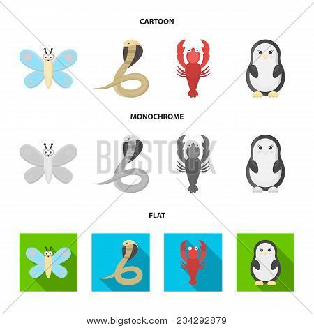 An Unrealistic Cartoon, Flat, Monochrome Animal Icons In Set Collection For Design. Toy Animals Vect
