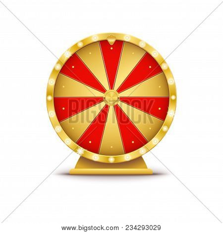 Realistic 3d Spinning Golden Fortune Wheel, Lucky Roulette Vector Illustration On Transparent Backgr