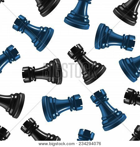 Realistic 3d Chess Black Rook Seamless Pattern Background Gaming Figure For Strategic Business Game