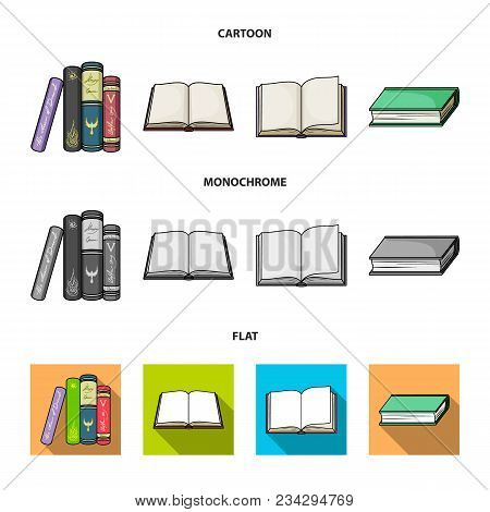 Various Kinds Of Books. Books Set Collection Icons In Cartoon, Flat, Monochrome Style Vector Symbol