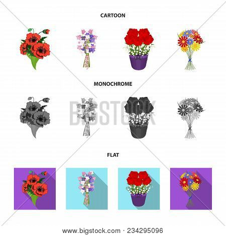 A Bouquet Of Fresh Flowers Cartoon, Flat, Monochrome Icons In Set Collection For Design. Various Bou