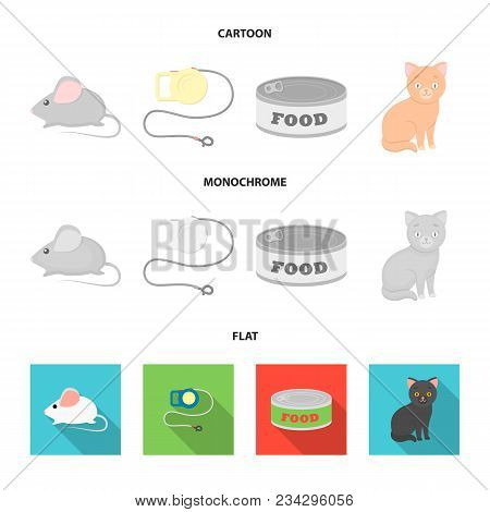Mouse, Pet Leash, Pet Food, Kitten. Cat Set Collection Icons In Cartoon, Flat, Monochrome Style Vect