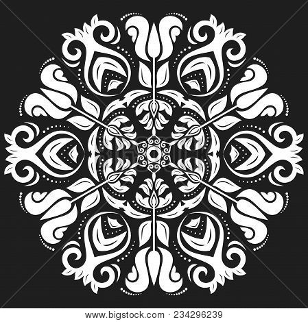 Oriental Vector Round White Pattern With Arabesques And Floral Elements. Traditional Classic Ornamen