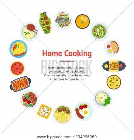 Cartoon Home Cooking Healthy Foods Dishes Menu Banner Card Circle Kitchen Concept Flat Design Style.