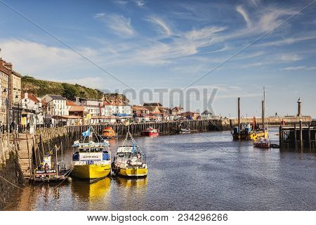 23 May 2017: Whitby, North Yorkshire, Uk - Pleasure Boats In The Harbour At Whitby, North Yorkshire,