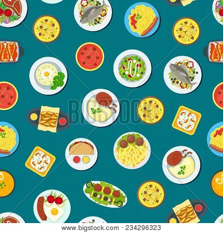 Cartoon Home Cooking Healthy Foods Dishes Menu Seamless Pattern Background Kitchen Concept Flat Desi