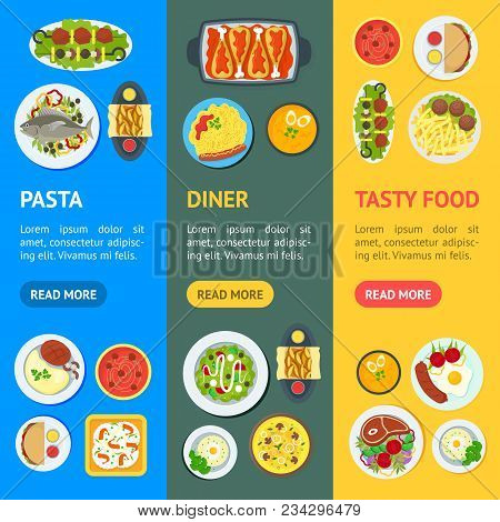 Cartoon Home Cooking Healthy Foods Dishes Menu Banner Vecrtical Set Kitchen Concept Flat Design Styl