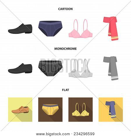 Male Shoes, Bra, Panties, Scarf, Leather. Clothing Set Collection Icons In Cartoon, Flat, Monochrome