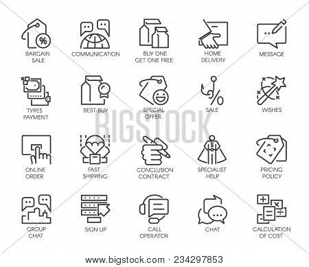 Set Of 20 Linear Icons Isolated On Marketing, Commerce And Theme High Customer Service Symbols. Grap