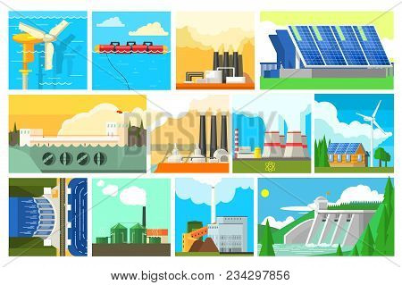 Types Of Electricity Generation Plants And Alternative Energy Sources. Electricity Production Statio