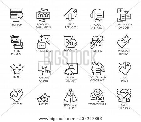 Set Of 20 Line Icons For Online Or Offline Stores, Shopping, Booking Sites And Mobile Apps. Graphic