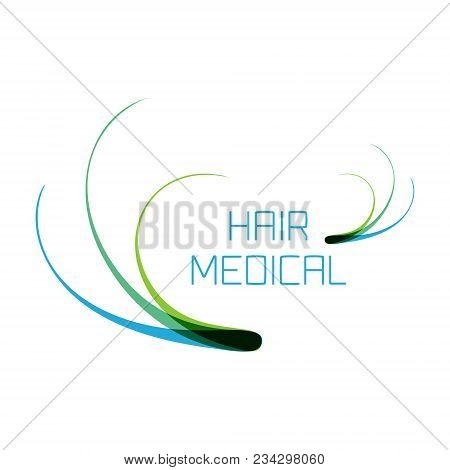 Hair Medical Logo With Follicle Icons For Diagnostic Centers And Clinics. Alopecia And Baldness Trea