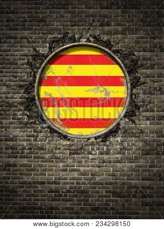 3d Rendering Of A Spanish Catalonia Community Flag Over A Rusty Metallic Plate Embedded On An Old Br