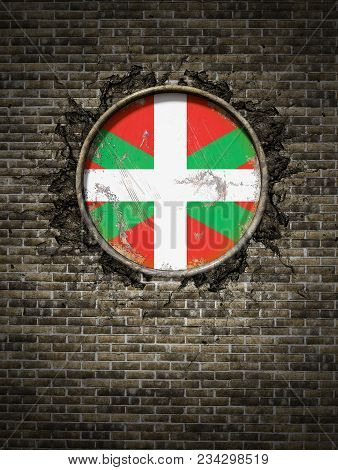 3d Rendering Of A Spanish Basque Country Community Flag Over A Rusty Metallic Plate Embedded On An O