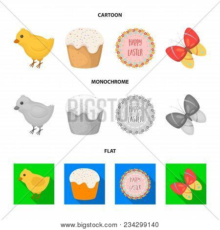 Easter Cake, Chicken, Butterfly And Greeting Sign.easter Set Collection Icons In Cartoon, Flat, Mono