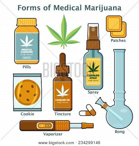 Flat Style Set Of Cannabis, Marijuana For Medical Use - Pills, Leaf, Oil Tincture, Spray, Patches, C