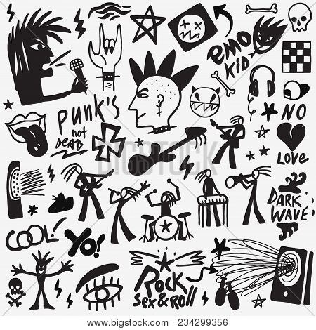 Punk Rock Symbols , Musicians Icons, Vector Design Elements
