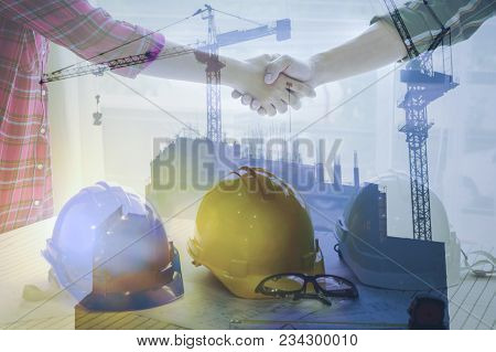 Business Women And Engineer Working Handshake Of Business People Joined Hands Together In Office Mee
